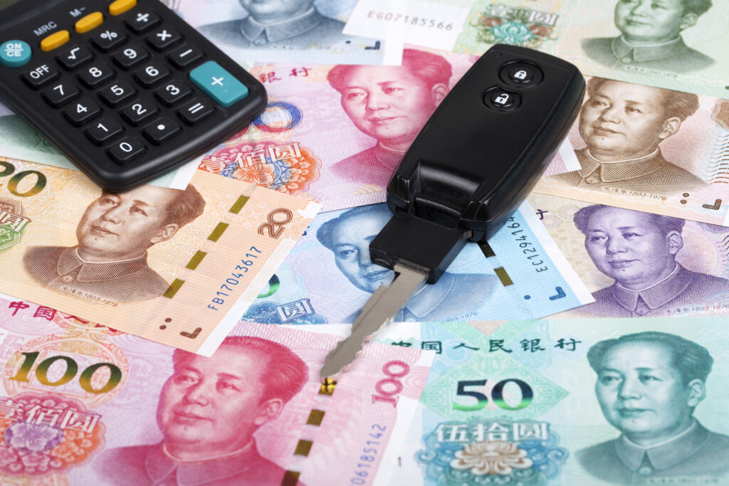 Chinese money and car keys